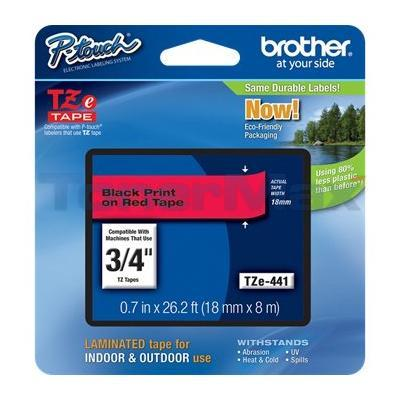 BROTHER TZ LAMINATED TAPE BLACK ON RED 0.7 IN X 26.2 FT